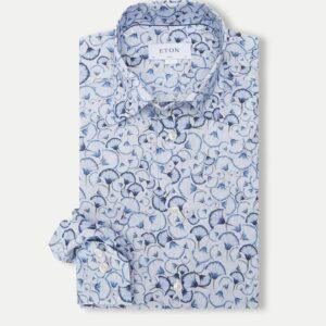 Eton Signature Twill skjorte i blå med mønster