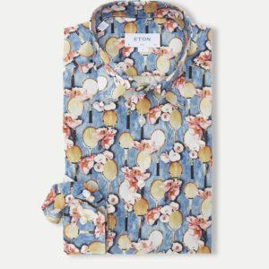 Eton blomstret Poplin skjorte i blå