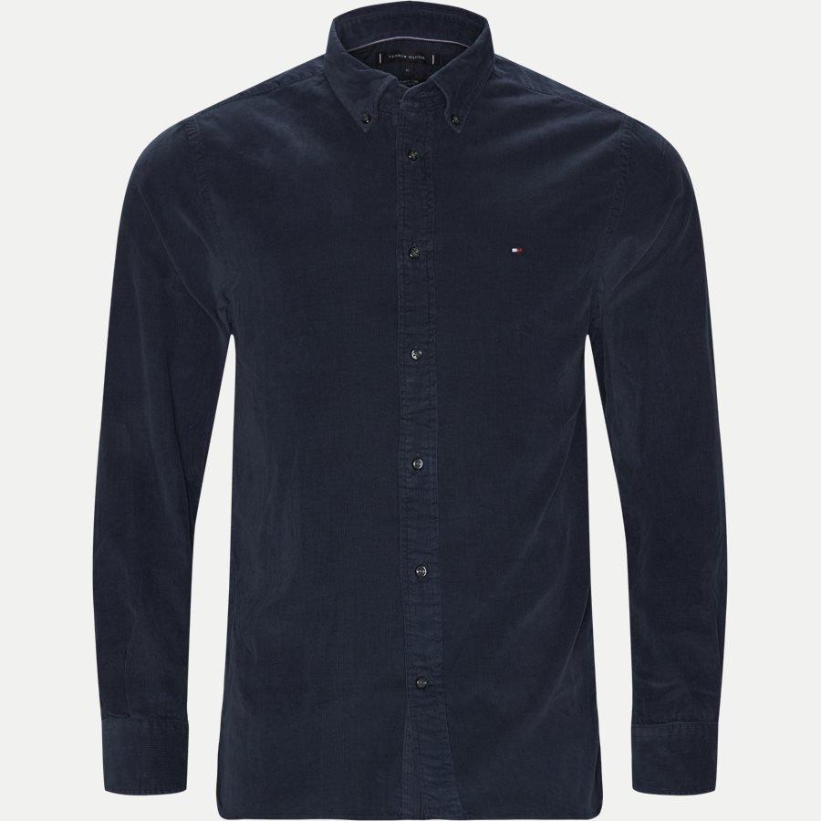 Tommy Hilfiger garment dyed Corduray skjorte blå